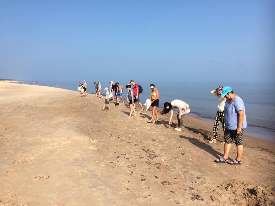"""Kampaņas """"Mana jūra"""" dalībnieki monitorē pludmali Miķeļtorņa apkaimē. / Autors: Kampaņa """"Mana jūra"""""""